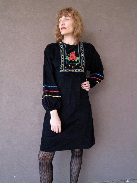 1970's BOHO GYPSY ROSE Black Dress