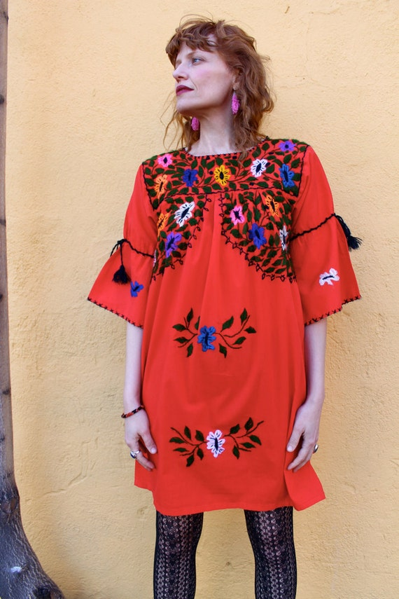 Vintage 1980's Red MEXICAN Mini Dress