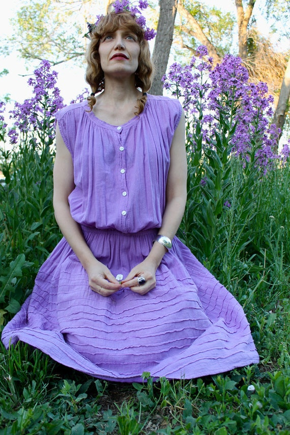 Vintage 1970's Dress LAVENDER COTTON SUNDRESS