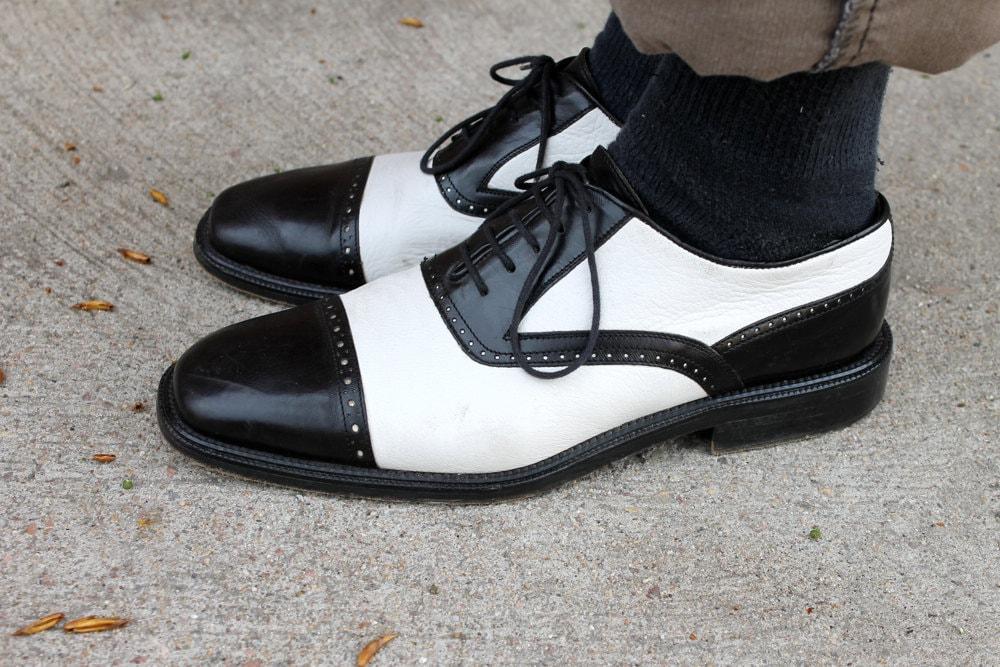 Vintage Italian Men S Two Tone Black Amp White Leather Shoes