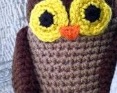 Hoot -- brown barn owl - crocheted toy owl friend