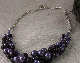 Purple  Pearl Bunch Necklace