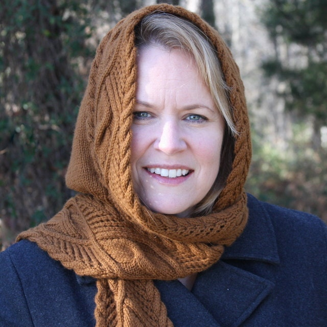 Easy Knitting Pattern For Hooded Scarf : Lace & Cable Hooded Scarf Knit Pattern PDF