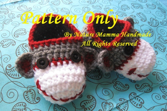 Classic Sock Monkey Booties PATTERN ONLY by Nature Mamma Handmade