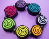 Bright Hot Neon Candy Felt Swirl Stretchy Bracelet  inElectric Pink, Blazing Green, Cool Blue, Pickled Purple and Citric Orange