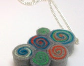 Swirls in Gray Neon Eco-Friendly Felt Spiral Necklace