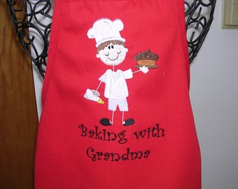 Boy's Baking with Grandma Apron
