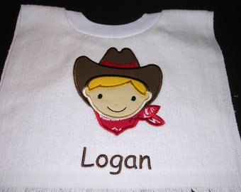 Boy's Cowboy Personalized Bib