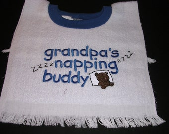 Grandpa's Napping Buddy  Bib