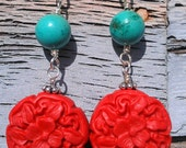 Cinnabar and Turquoise Earrings