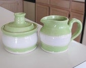 Creamer and Sugar Bowl Ceramic Pottery  Wedding Gift Handmade Kitchen Stoneware Dishes  Green and White Tableware