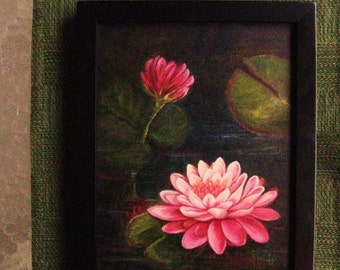 Oil Painting Original  Fine Art 8x10 on Canvas Lilly Pond