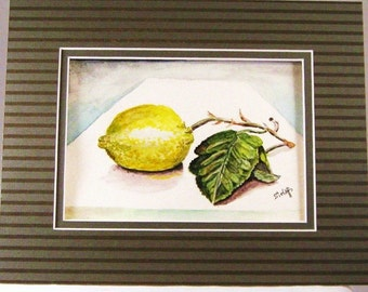 Watercolor Painting Original Still Life  5x7 in an 8x10 matt  Lemons in Yellow