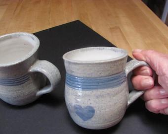 Mug Ceramic Mug Tea Cup Blue Heart Large Mug  Ceramic  Mug  14 oz. Coffee Cup Handmade Pottery Teacup  Stoneware Clay Blue  Heart Design