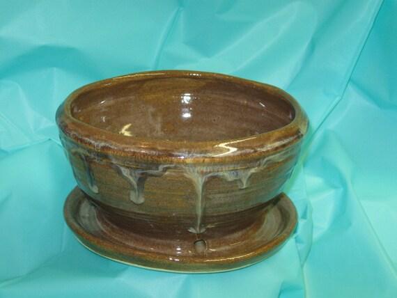 Berry Bowl Handmade Ceramic Pottery Stoneware Flower Pot  Rustic Brown
