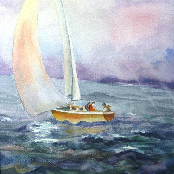 Sail Boat Original Watercolor Painting Fine Art 11x14 Landscape