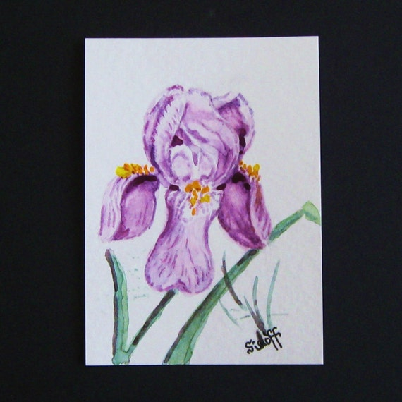 ACEO Original Watercolor Painting  Floral Still Life Trading Card  Iris Purple Flowers