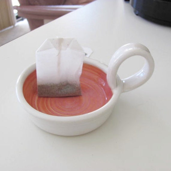 Tea Bag Holder Ceramic Pottery  Candle Holder Handmade Pottery Coral and White Stoneware Clay
