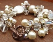 Vintage Themed Pearl & Crystal Mixed Metal Cluster Bracelet with Toggle Clasp,