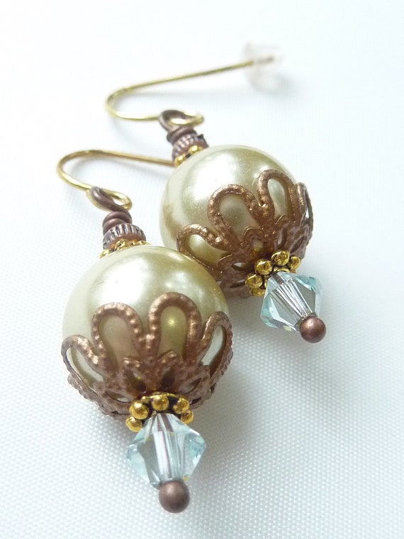 Vintage-Style Glass Pearl & Swarovski Crystal Earrings