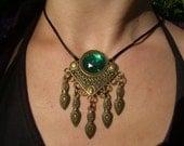 Vintage Brass Pendant with Emerald Rhinestone