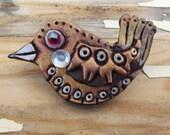 Bird - Polymer Clay Art Brooch - Wearable Art - OOAK - free shipping etsy