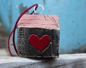 Little House of Love - OOAK Pendant -  Valentines Day -Modelling Clay Art Sculpture - Wearable Art - DecoEcoShop