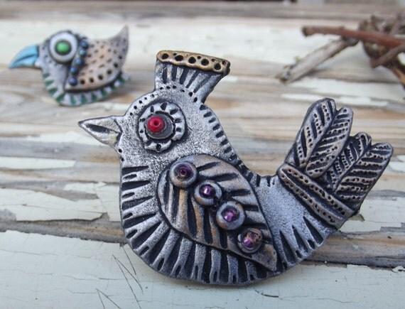 Bird  - Polymer Clay Art Brooch - Wearable Art - OOAK- artisan jewelry - pin brooch