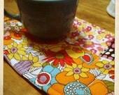 mug rug PINK snack mat patchwork