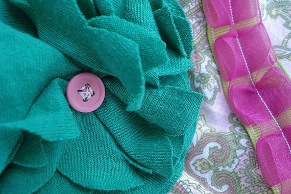pink green paisley makeup clutch with recycled tshirt fabric flower - padded zipper pouch - purse organizer