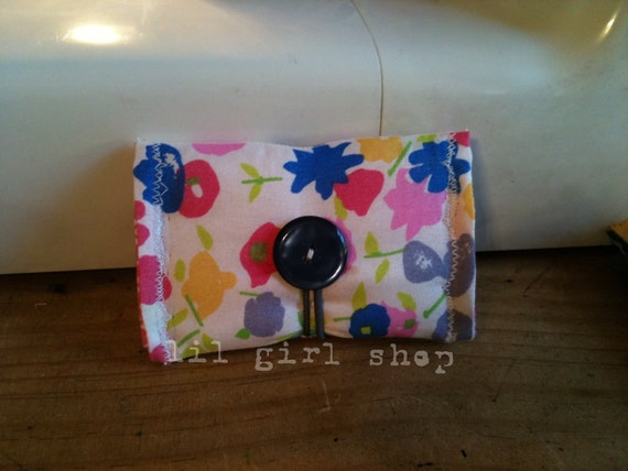everyday card case wallet PINK watercolor floral button loop elastic closure padded by lilgirlshop