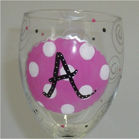 Items Similar To Initial Monogram Hand Painted Wine Glass