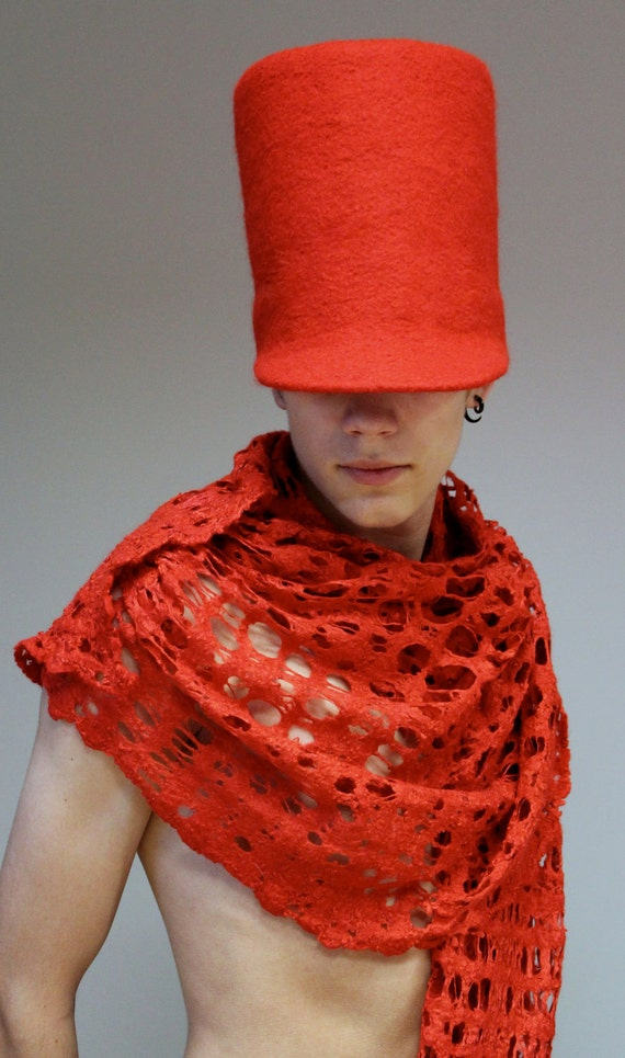 "Felt hat -cap   ""Red soldier"" Reserved for Crystal Rock"