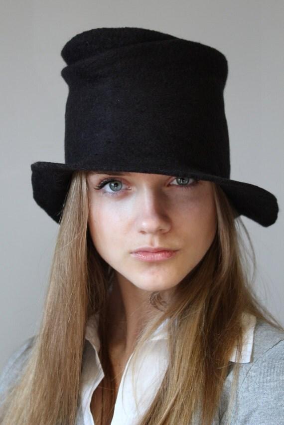 "Felted brim hat ""Black"""