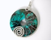 Turquoise Donut Sterling Wire Wrapped Pendant