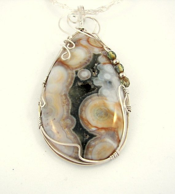 Ocean Jasper Sterling Wrapped Pendant with Crochet Necklace