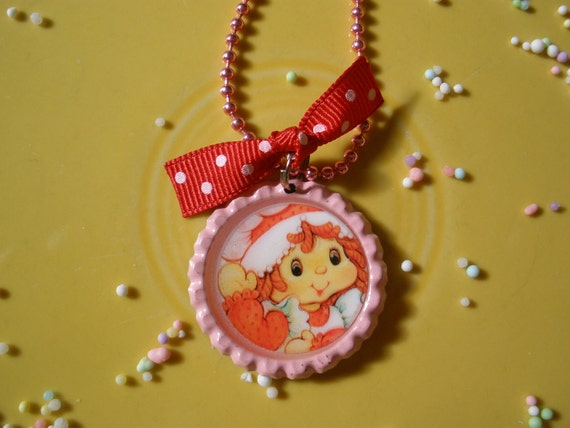 Strawberry Shortcake  bottlecap necklace and clip set