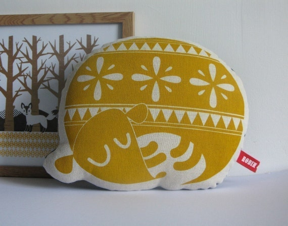 CUSTOM ORDER for deneicefarley - Hand Screen Printed Sleepy Dog in Yellow