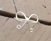 Wire Wrapped Ring Silver Tails Down Bow