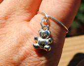 Adjustable Wire Ring Charmed Floating Teddy Bear