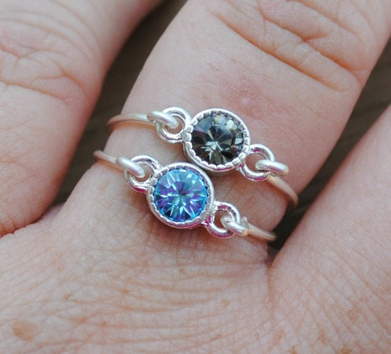 Wire Wrapped Rings Blue and Grey Stacking Set 2 Rings