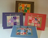 Asian Paper Patchwork Quilt Blank Note Cards, Set of 4 with Envelopes and Closure Seals