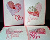 Iris Folded Heart Cards, Set of 4 with Closure Seals and Envelopes