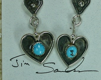 Turquoise silver heart earrings,  JS-er-001
