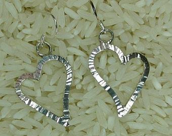 Sterling silver heart earrings,  JS-er-004