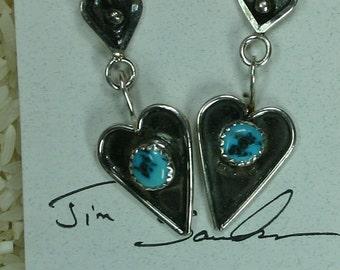 Turquoise silver heart earrings,  JS-er-003