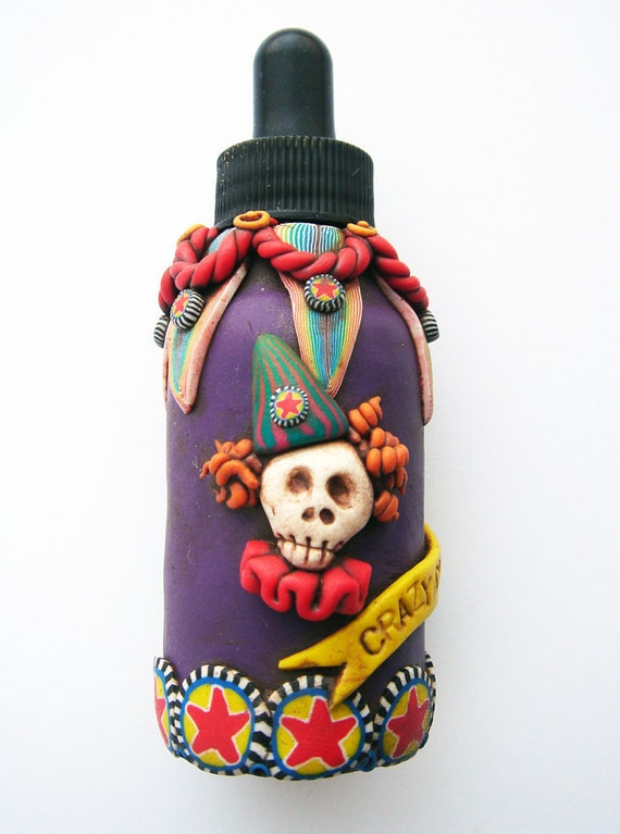 Crazy Clown Colors 1 bottle with dropper lid, covered in polymer clay handmade and unique
