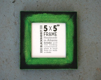 Green and Black Handmade Picture Frame (5 x 5 inches)