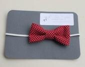 red mini polka-dot bowtie - headband