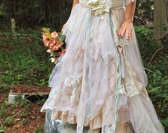 Tattered Romance Wedding skirt, Custom skirt, tulle and lace skirt, ribbon,  bridal skirt, handmade, custom, wedding dress,  wedding ideas